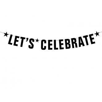 Baner Let's Celebrate, czarny, 14 x 106cm, 1szt.