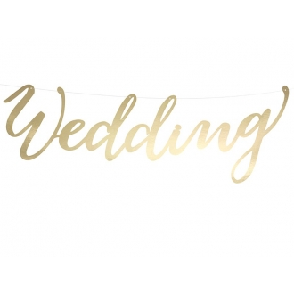 Baner Wedding, złoty, 16,5x45cm, 1szt.