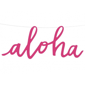 Baner Aloha, fuksja, 19x47cm, 1szt.