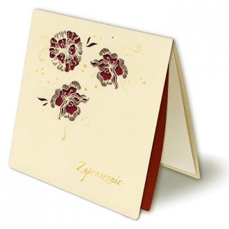 Zaproszenia w 3 Wycięte Laserowo Kwiaty oraz Złocenia F1021k