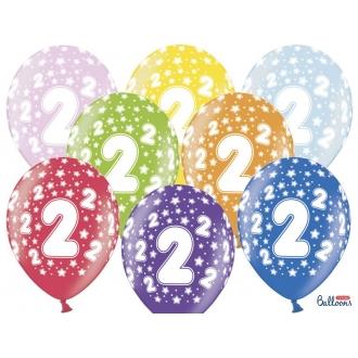 Balony 30cm, 2nd Birthday, Metallic Mix, 6szt.