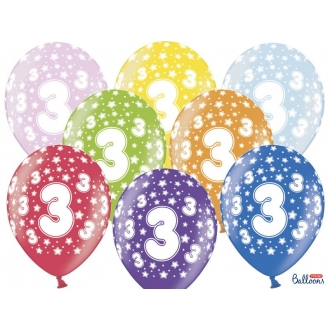 Balony 30cm, 3rd Birthday, Metallic Mix, 6szt.
