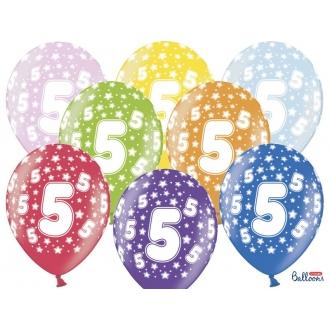 Balony 30cm, 5th Birthday, Metallic Mix, 6szt.