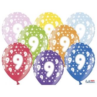 Balony 30cm, 9th Birthday, Metallic Mix, 6szt.