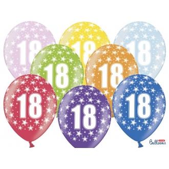 Balony 30cm, 18th Birthday, Metallic Mix, 6szt.