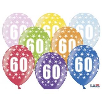 Balony 30cm, 60th Birthday, Metallic Mix, 6szt.
