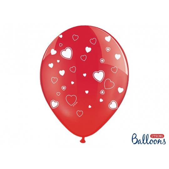 Balony 30cm, Serca, Crystal Poppy Red, 6szt.