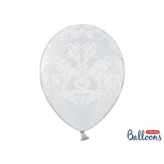 Balony 35cm, Ornament, Crystal Clear, 50szt.