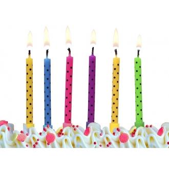 Świeczki urodzinowe Kropki, mix, 1op.