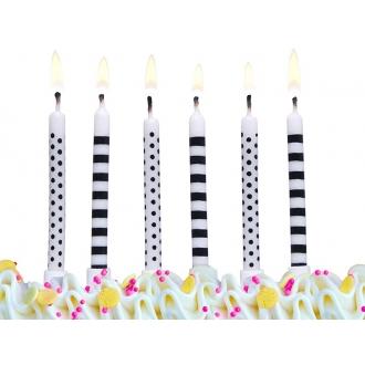 Świeczki urodzinowe Kropki i paski, mix, 1op.
