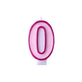 Świeczka urodzinowa Cyferka 0, różowy, 1szt.
