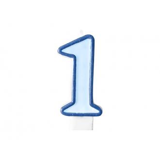Świeczka urodzinowa Cyferka 1, niebieski, 1szt.
