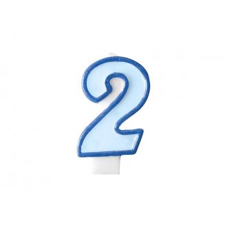 Świeczka urodzinowa Cyferka 2, niebieski, 1szt.