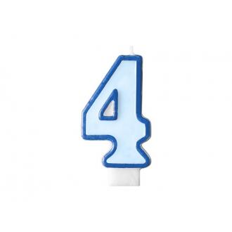 Świeczka urodzinowa Cyferka 4, niebieski, 1szt.