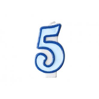 Świeczka urodzinowa Cyferka 5, niebieski, 1szt.