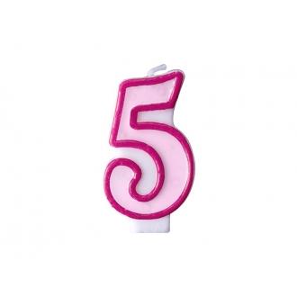 Świeczka urodzinowa Cyferka 5, różowy, 1szt.