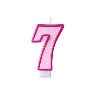 Świeczka urodzinowa Cyferka 7, różowy, 1szt.