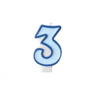 Świeczka urodzinowa Cyferka 3, niebieski, 1szt.