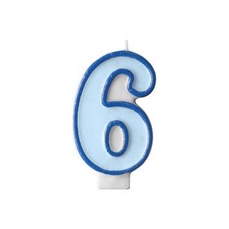 Świeczka urodzinowa Cyferka 6, niebieski, 1szt.