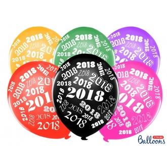 Balony 30cm, 2018, Metallic Mix, 6szt.