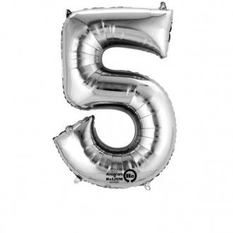 Balon foliowy 58 x 86 cm Cyfra 5, srebrny, 1szt.