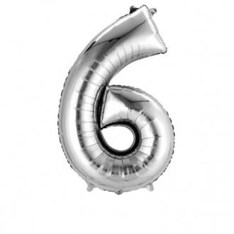 Balon foliowy 55 x 88 cm Cyfra 6, srebrny, 1szt.