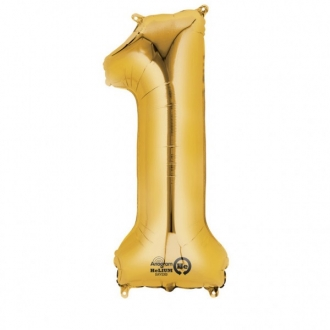 Balon foliowy 33 x 86 cm Cyfra 1, złoty, 1szt.