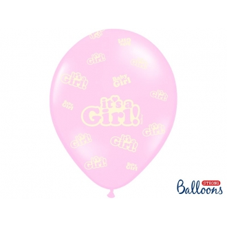 Balony 30cm, It's a Girl, Pastel Baby Pink, 50szt.
