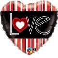 "Balon foliowy 18"" QL HRT ""L(Heart)VE Red Stripes """