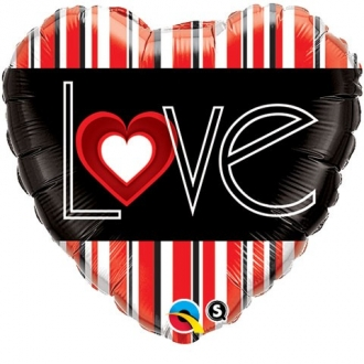 "Balon foliowy 18"" QL HRT ""L(Heart)VE Red Stripes """