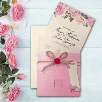 Zaproszenie Ślubne Różowe Z Kokardą Kwiatek F5549