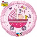"""Balon foliowy 18"""" QL CIR """"Baby Girl (różowy, wózek)"""" ST ASORT"""