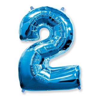 """Balon foliowy FX - """"Number 2"""" niebieski, 85 cm"""
