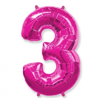 """Balon foliowy FX - """"Number 3"""" różowy 85 cm"""