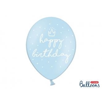 Balony 30cm, happy birthday, P. Baby Blue, 6szt.