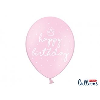 Balony 30cm, happy birthday, P. Baby Pink, 6szt.