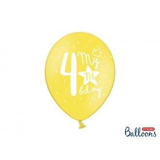 Balony 30cm, My 4th bday, mix, 6szt.