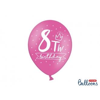 Balony 30cm, 8th! birthday, mix, 6szt.