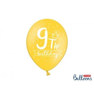 Balony 30cm, 9th! birthday, mix, 6szt.