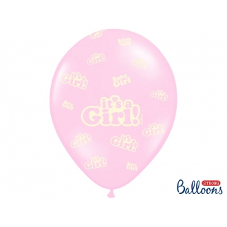 Balony 30cm, It's a Girl, Pastel Baby Pink, 6szt.