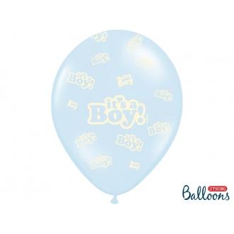 Balony 30cm, It's a Boy, Pastel Baby Blue, 6szt.