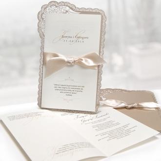 Zaproszenia Ślubne z Koronkowym Wzorem F1243