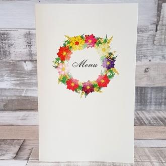 Menu Weselne z Motywem Kolorowych Kwiatów WM05