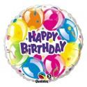"Balon foliowy 18"" QL CIR ""Happy Birthday (baloniki)"" ST ASORT"