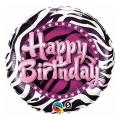 "Balon foliowy 18"" QL CIR ""Happy Birthday (zebra)"" ST ASORT"