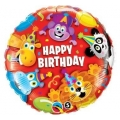 "Balon foliowy 18"" QL CIR ""Happy Birthday Party Animals"""