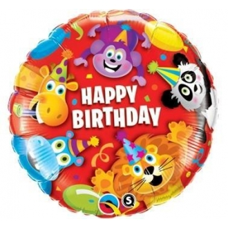 "Balon foliowy 18"" QL CIR ""Happy Birthday Party Animals"""