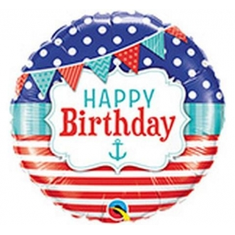 "Balon foliowy 18"" QL CIR - ""Happy Birthday Natical & Pennants"""