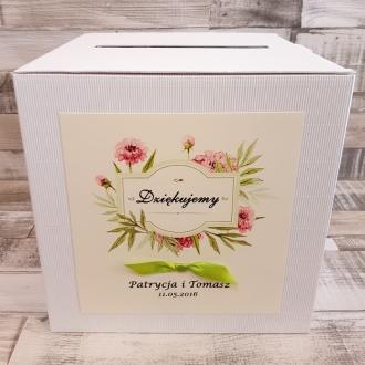 Pudełko na koperty i prezenty z Motywem Pastelowych Kwiatów i Zieloną Tasiemką WP10