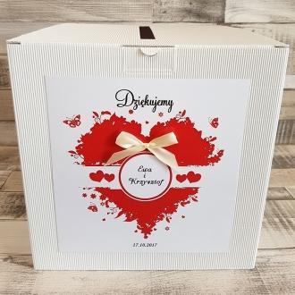Pudełko na koperty i prezenty z Motywem Czerwonego Serca i Tasiemką w Kolorze Ecru WP12
